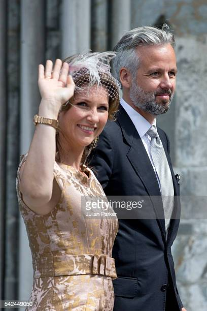 Princess Martha Louise of Norway and husband Ari Behn attend a service at Nidaros Cathedral on a visit to Trondheim during the King and Queen of...