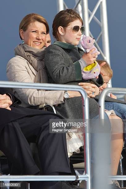 Princess Martha Louise of Norway and Maud Angelica Behn celebrate King Harald and Queen Sonja of Norway's 75th birthdays at Oslo Opera House on May...