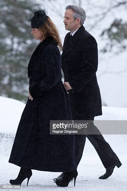 Princess Martha Louise of Norway and Mr Ari Behn attend the Funeral Service of Mr Johan Martin Ferner on February 2 2015 in Oslo Norway
