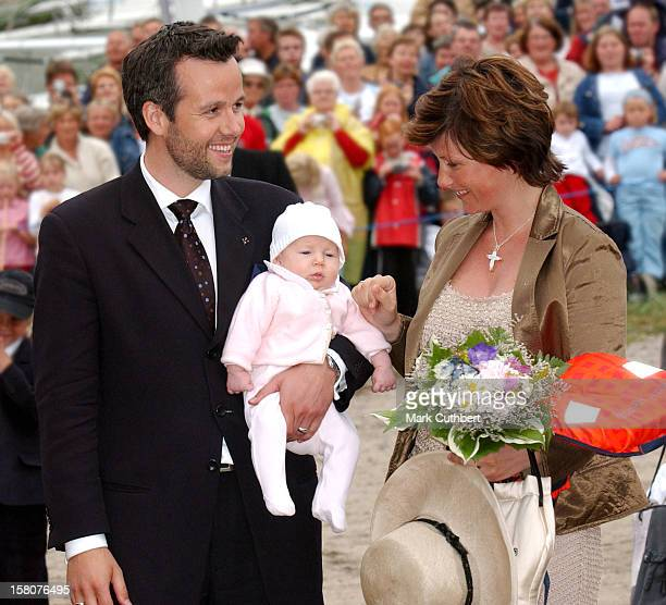 Princess Martha Louise Of Norway Ari Behn Their Daughter Maud Angelica Attend A Reception On The Boat Ss Norge At Hanko Near Oslo To Mark The 100Th...