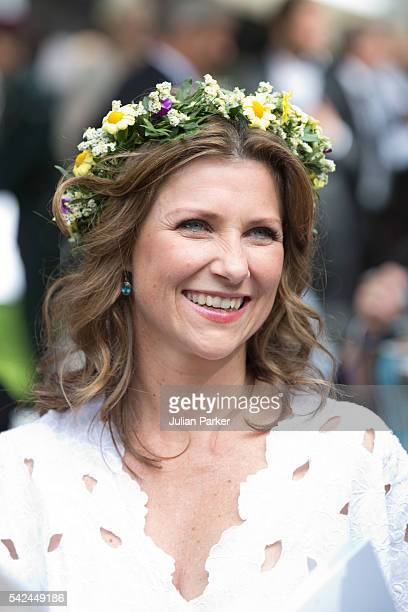 Princess Martha Louise of Norway attenda a Garden Party at the Royal Residence Stiftsgarden on a visit to Trondheim during the King and Queen of...