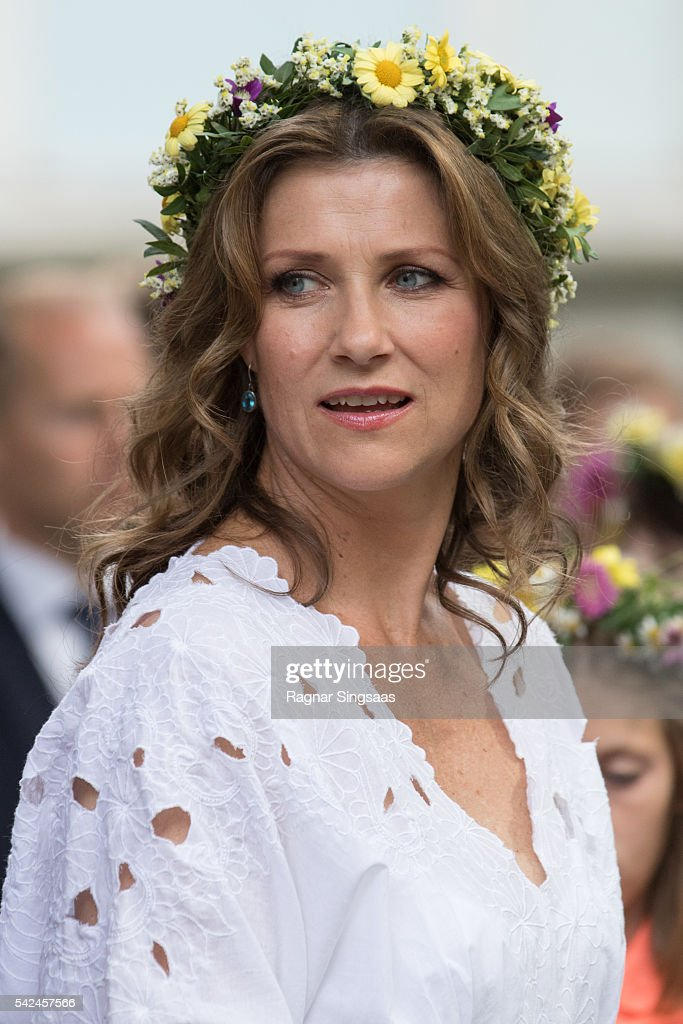 Princess Martha Louise of Norway attends a garden party during the Royal Silver Jubilee Tour on June 23, 2016 in Trondheim, Norway.