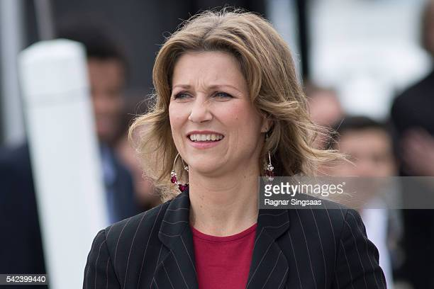 Princess Martha Louise of Norway attends festivities at the Ravnakloa fish market during the Royal Silver Jubilee Tour on June 23 2016 in Trondheim...