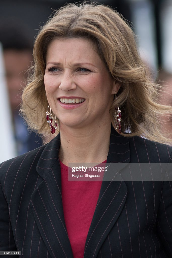 Princess Martha Louise of Norway attends festivities at the Ravnakloa fish market during the Royal Silver Jubilee Tour on June 23, 2016 in Trondheim, Norway.