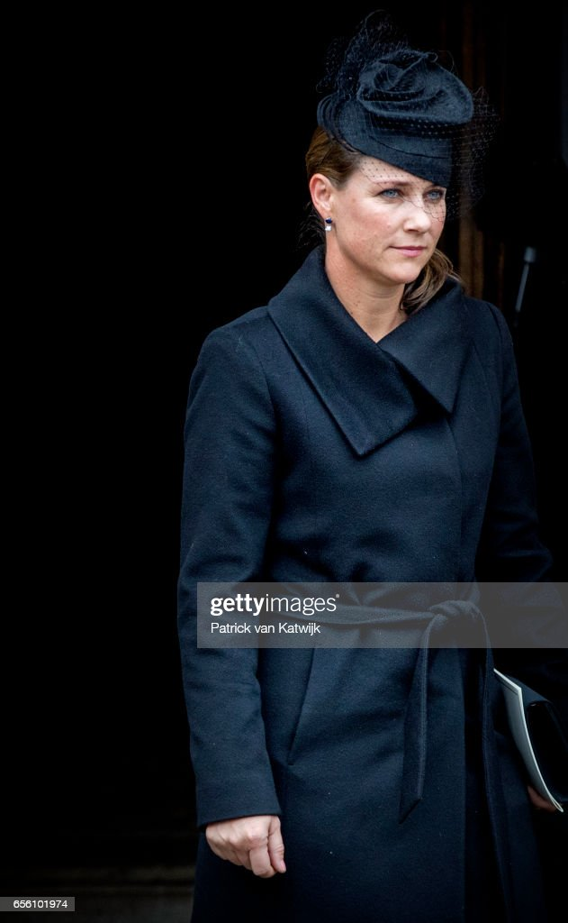 Princess Martha Louise of Norway attends the funeral of Prince Richard at the Evangelische Stadtkirche on March 21, 2017 in Bad Berleburg, Germany. Prince Richard, husband of Princess Benedikte of Denmark, died suddenly on March 13, 2017 at age 83.