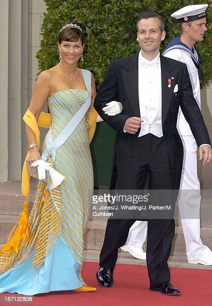 Princess Martha Louise Of Norway Husband Ari Behn Attend The Wedding Of Crown Prince Frederik Mary Donaldson At The Vor Frue Kirke Catherdal In...