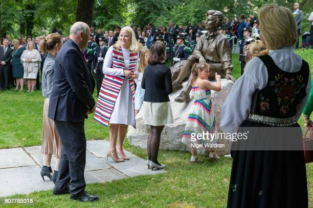 Princess Martha Louise of Norway King Harald of Norway Crown Princess Mette Marit of Norway Maud Angelica Behn of Norway and Emma Tallulah Behn of...