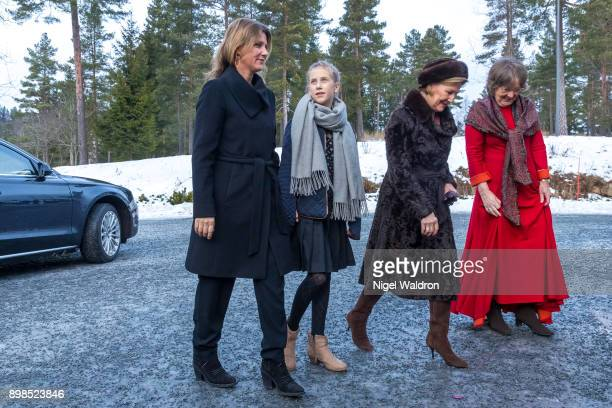 Princess Martha Louise of Norway Leah Isadora Behn of Norway and Queen Sonja of Norway attend Christmas service at the Holmenkollen Chapel on...