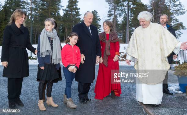 Princess Martha Louise of Norway Leah Isadora Behn of Norway Emma Tallulah Behn of Norway and King Harald of Norway attend Christmas service at the...