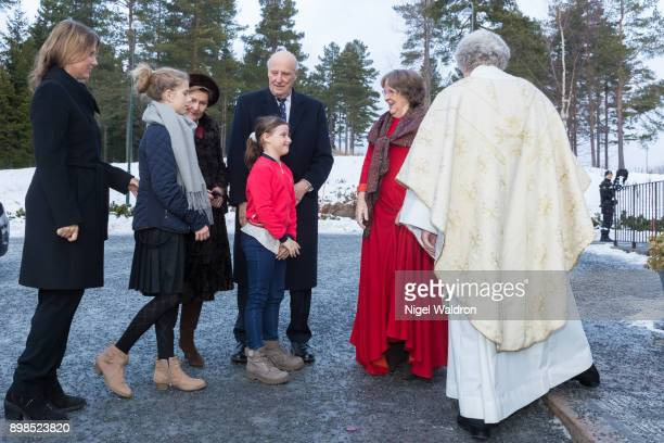 Princess Martha Louise of Norway Leah Isadora Behn of Norway Queen Sonja of Norway and King Harald of Norway Emma Tallulah Behn of Norwayattend...