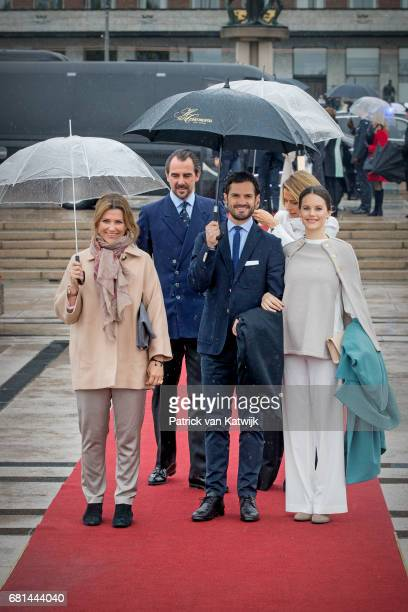 Princess Martha Louise of Norway Prince Carl Philip of Sweden and Princess Sofia of Sweden attend a lunch on the Norwegian Royal yatch Norgeto...
