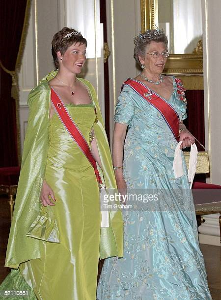 Princess Martha Louise Of Norway With Her Aunt Princess Astrid Arriving For The State Banquet At The Royal Palace In Oslo Norway