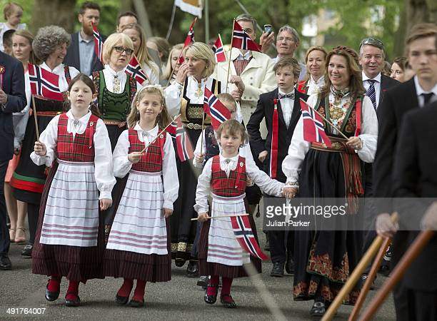 Princess Martha Louise of Norway with her daughters Maud Angelica Behn Leah Isadora Behn and Emma Tallulah Behn attend celebrations for Norway...