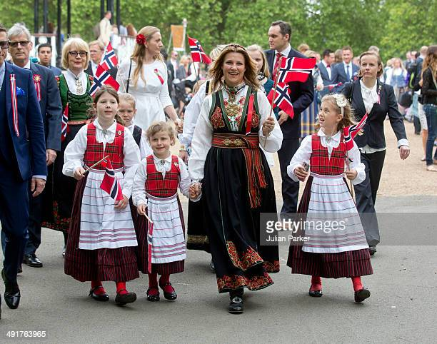 Princess Martha Louise of Norway with her daughtersMaud Angelica Behn Emma Tallulah Behn and Leah Isadora Behn attend celebrations for Norway...