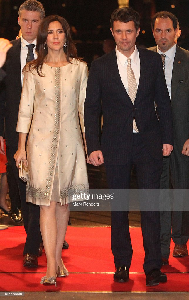 Princess Mary and Crown Prince Frederik of Denmark attend a concert for Danish EU Presidency celebration at Flagey on January 26, 2012 in Brussel, Belgium.