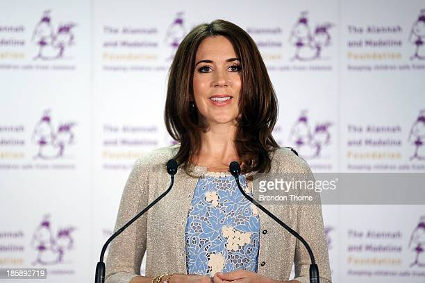 Princess Mary of Denmark addresses guests at the launch of eSmart Homes Digital License The Alannah and Madeline Foundation on October 26 2013 in...