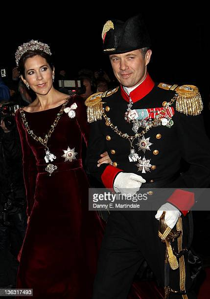 Princess Mary of Denmark and Crown Prince Frederik of Denmark attend the New Year's levee and New Year's Banquet in Christian VII's Palace...