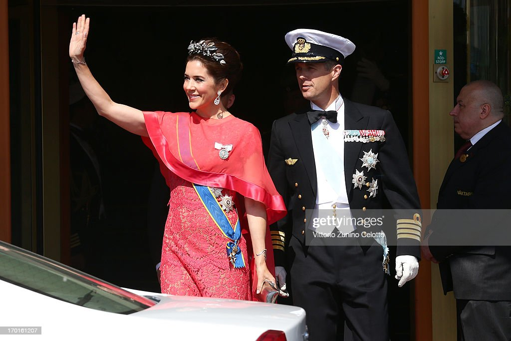 Princess Mary of Denmark and Crown Prince Frederik of Denmark depart The Grand Hotel to attend the wedding of Princess Madeleine of Sweden and Christopher O'Neill hosted by King Carl Gustaf XIV and Queen Silvia at The Royal Palace on June 8, 2013 in Stockholm, Sweden.
