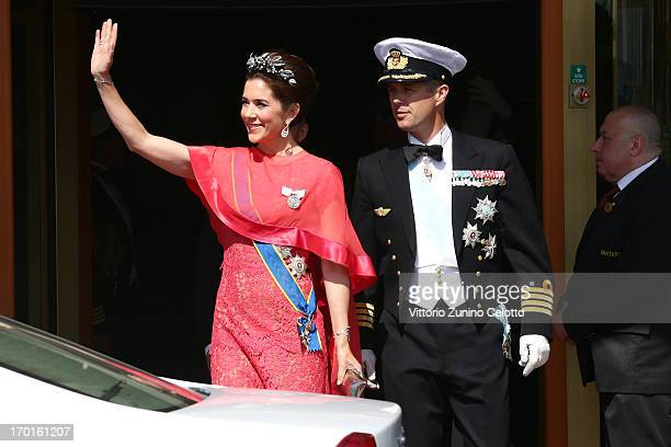 Princess Mary of Denmark and Crown Prince Frederik of Denmark depart The Grand Hotel to attend the wedding of Princess Madeleine of Sweden and...