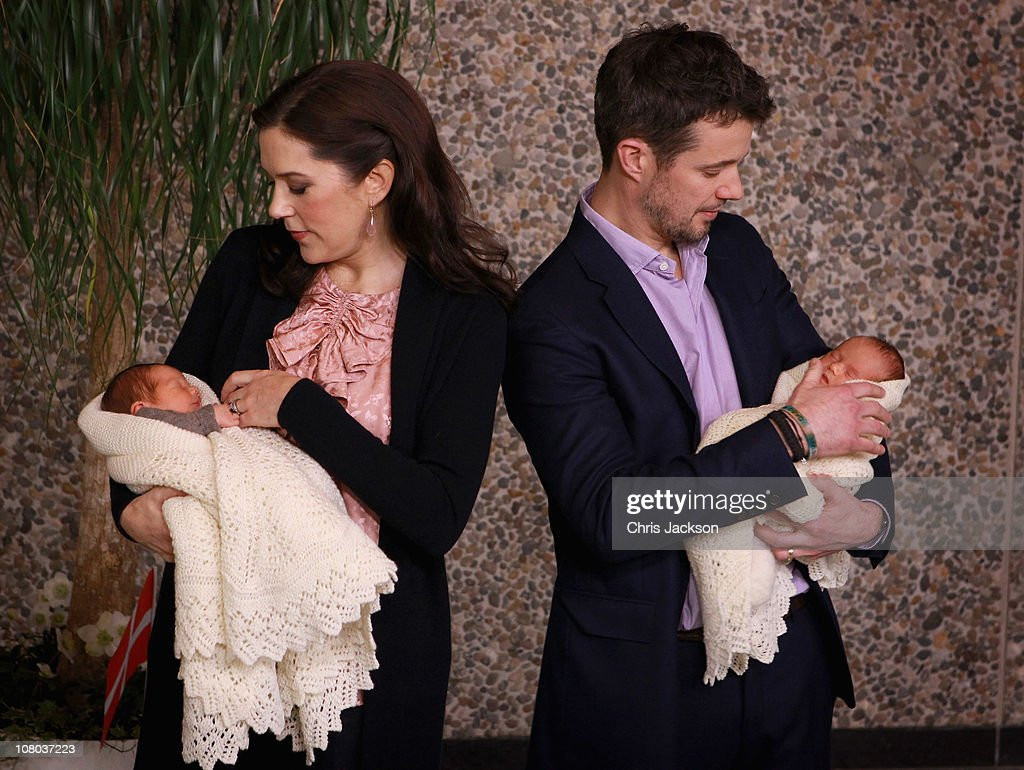 Princess Mary of Denmark and Crown Prince Frederik of Denmark hold their new-born baby twins as they leave the Rigshospitalet on January 14, 2011 in Copenhagen, Denmark. Princess Mary of Denmark gave birth to the twins, a boy and a girl on Saturday morning.