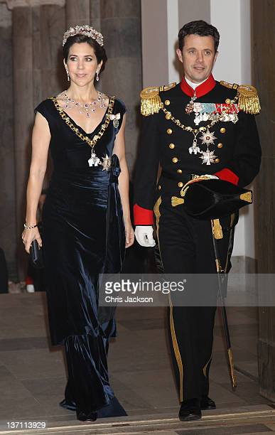 Princess Mary of Denmark and Crown Prince Frederik of Norway attend a Gala Dinner to celebrate Queen Margrethe II of Denmark's 40 years on the throne...