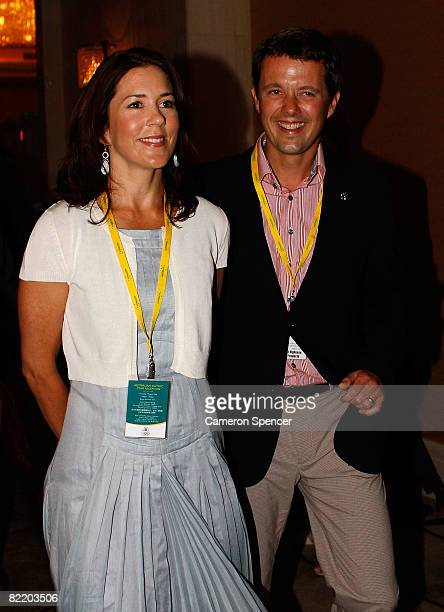 Princess Mary of Denmark and HRH Prince Frederik arrive at the Australian Olympic team reception at the Sofitel Wanda ahead of the Beijing 2008...