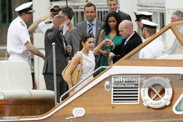 Princess Mary of Denmark and Prince Frederik of Denmark are seen on Sydney Harbour during there Australian visit on November 20 2011 in Sydney...