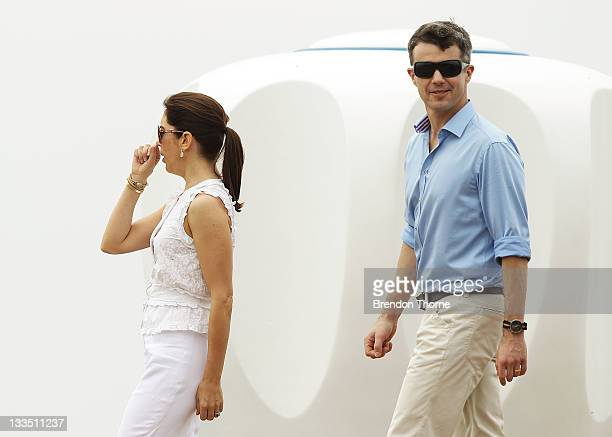 Princess Mary of Denmark and Prince Frederik of Denmark are seen during their visit to 'Sculpture by the Sea' on November 20 2011 in Sydney Australia