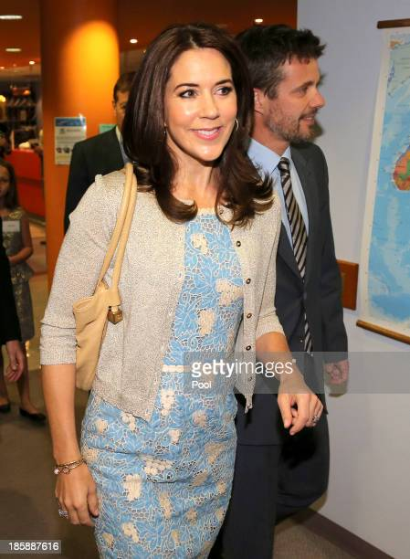 Princess Mary of Denmark and Prince Frederik of Denmark arrive at the Children's Hospital during a visit to the Australian Twin Registry on October...
