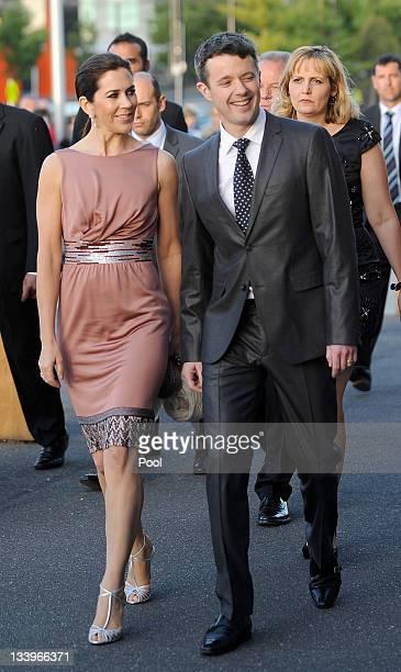 Princess Mary of Denmark and Prince Frederik of Denmark arrive for a business delegation dinner on November 23 2011 in Melbourne Australia Princess...