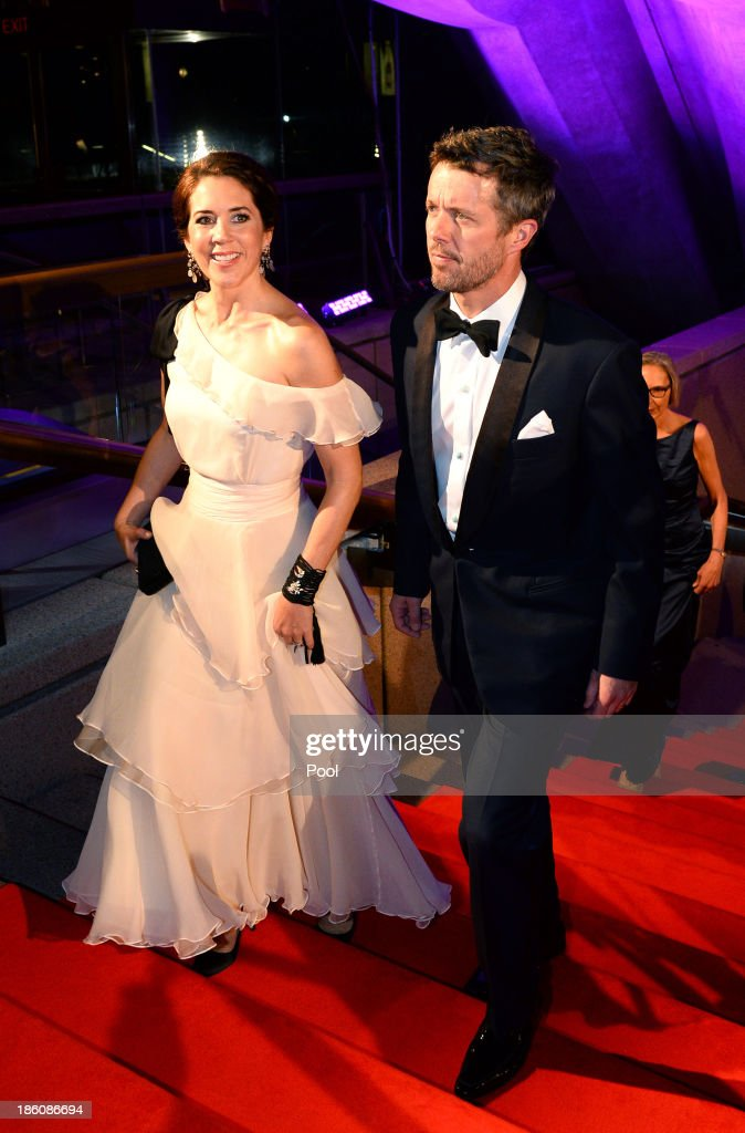 Princess Mary of Denmark and Prince Frederik of Denmark arrive to attend the Crown Prince Couple Awards 2013 at Sydney Opera House on October 28, 2013 in Sydney, Australia. Prince Frederik and Princess Mary are on a five day visit to Sydney and will attend events to celebrate the 40th anniversary of the Sydney Opera House and the Danish architect who designed the landmark, Jorn Utzen.