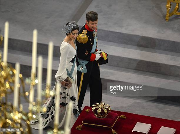 Princess Mary of Denmark and Prince Frederik of Denmark leave after the inauguration ceremony for King WillemAlexander of the Netherlands at Nieuwe...