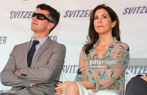 Princess Mary of Denmark and Prince Frederik of Denmark look on as they attend the naming ceremony for the tugboat 'Svitzer Marysville' on November...