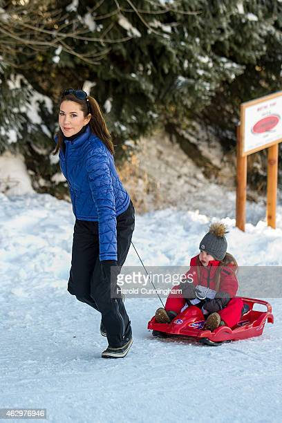 Princess Mary of Denmark and Princess Josephine of Denmark attends the Danish Royal family annual skiing photocall whilst on holiday on February 8...