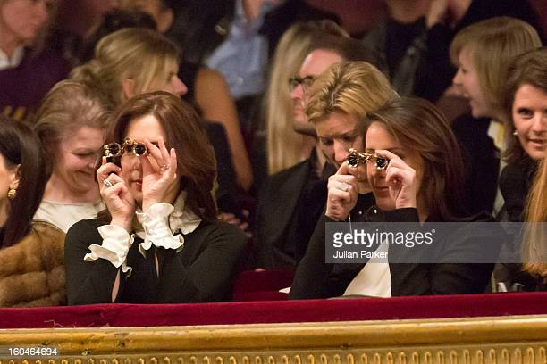 Princess Mary of Denmark and Princess Marie of Denmark attend the Malene Birger show at the Royal Theatre during day two of Copenhagen Fashion Week...