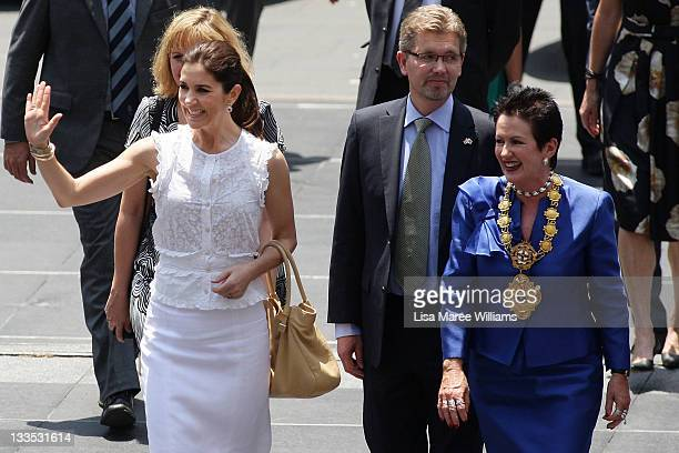 Princess Mary of Denmark and Sydney Lord Mayor Clover Moore arrive at the opening of 'Curating Cities SydneyCopenhagen' at Customs House on November...