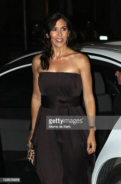 Princess Mary of Denmark arrives at her friend and bridesmaid Amber Petty's 40th birthday celebration at The Promethian on August 21 2010 in Adelaide...
