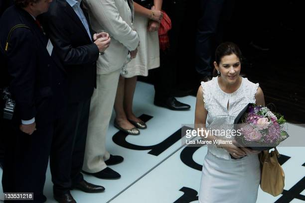 Princess Mary of Denmark arrives at the opening of 'Curating Cities SydneyCopenhagen' at Customs House on November 20 2011 in Sydney Australia...
