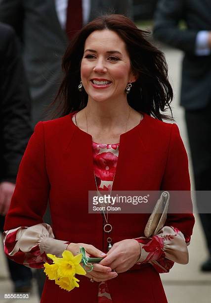 Princess Mary of Denmark arrives for a visit with residents of The Danish Home a home for senior citizens of Danish decent March 23 2009 in Chicago...