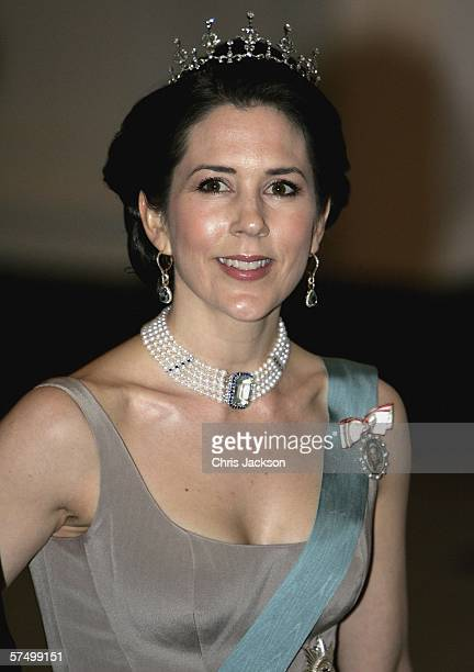Princess Mary of Denmark arrives for the Gala Dinner at Royal Palace to celebrate King Carl XVI Gustaf of Sweden's 60th Birthday on April 30 2006 in...