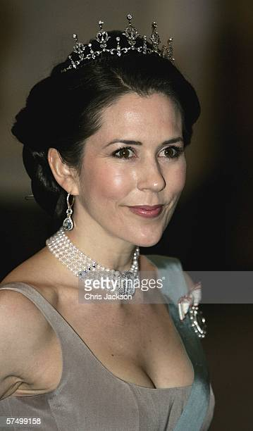 Princess Mary of Denmark arrives for the Gala Dinner at Royal Palace to celebrate King Carl XVI Gustaf of Sweden's 60th Birthday on April 30, 2006 in...