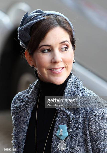 Princess Mary of Denmark arrives for the official reception to celebrate Queen Margarethe II of Denmark's 40 years on the throne at City Hall on...