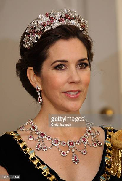 Princess Mary of Denmark attends a Gala Dinner to celebrate Queen Margrethe II of Denmark's 40 years on the throne at Christiansborg Palace Chapel on...