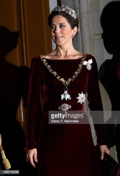 Princess Mary of Denmark attends the New Year's levee and New Year's Banquet in Christian VII's Palace Amalienborg on January 1 2012 in Copenhagen...