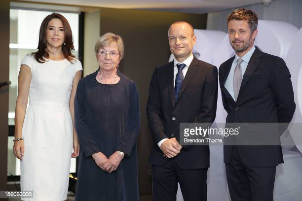 Princess Mary of Denmark Danish Politician Marianne Jelved General Manager ECCO Shoes Morten Lauge and Prince Frederik of Denmark attend an offical...