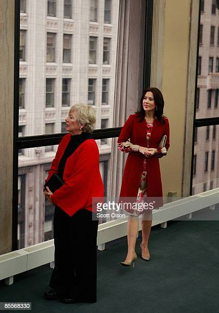 Princess Mary of Denmark gets a window tour of downtown from Maggie Daley the wife of Chicago Mayor Richard Daley following the opening of the...