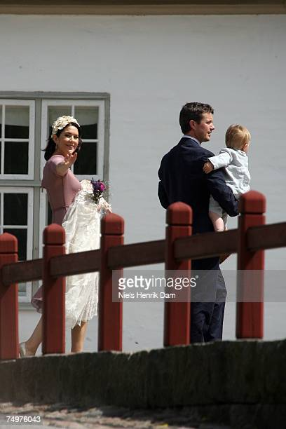Princess Mary of Denmark holding her baby daughter Princess Isabella of Denmark Prince Frederik of Denmark and Prince Christian of Denmark of the...