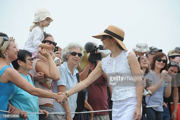 Princess Mary of Denmark is welcomed by a large crowd as she visits Sculpture by the Sea on November 20 2011 in Sydney Australia Princess Mary and...