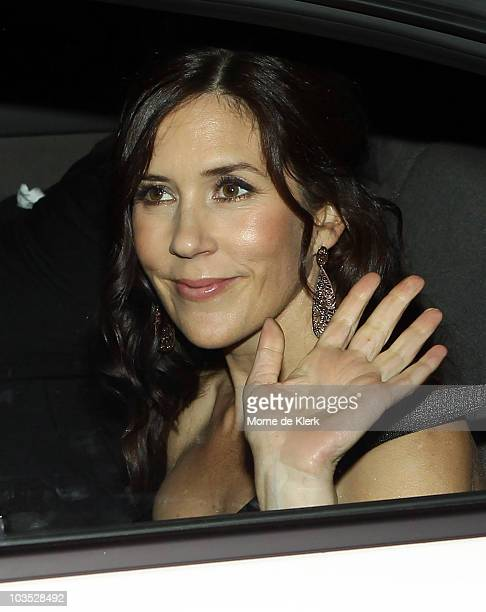 Princess Mary of Denmark leaves from her friend and bridesmaid Amber Petty's 40th birthday celebration at The Promethian on August 21 2010 in...