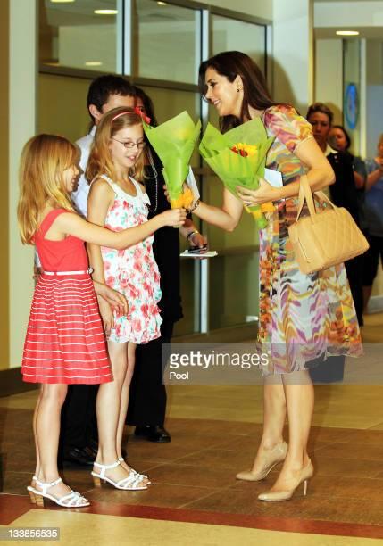 Princess Mary of Denmark meets with Isabella Moon aged 8 Mathew Moon aged 12 and Saskia Moon aged 10 as she visits the newly renamed Crown Princess...